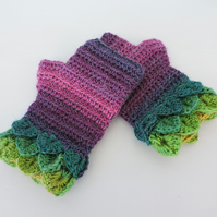 Fingerless Crochet Mitts with Dragon Scale Cuffs Green Magenta and Pink