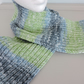 Knitted Scarf  Blue, Green and White
