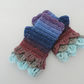Fingerless Mitts with Dragon Scale Cuffs Mauve, Blues, Rust and Taupe