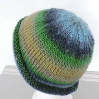 Adults Knitted Beanie Hat  Blue, Green, Mustard, Taupe