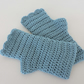 Crochet Fingerless Mitts Teal with Wavy Edge Top