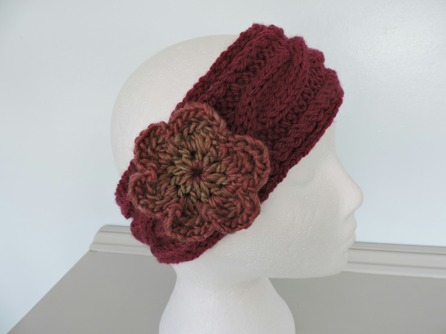 Headband, Ski Band, Ear Warmers for Adults Dark Red Hand Knitted