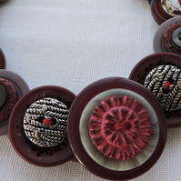 Button Necklace Burgundy and Grey