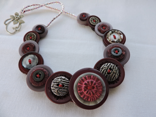 Button Necklace Burgundy Magenta and Grey