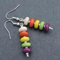 Drop Earrings Rondelle Beads with Silver Spacer Beads