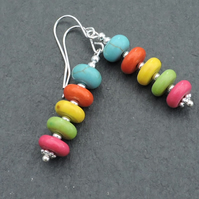 Drop Earrings Rondelle Beads with Silver Spacer Beads on Silver Plated Wires