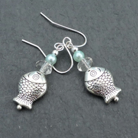 Drop Earrings Fish Blowing Bubbles on Silver Plated Wires