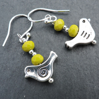 Drop Earrings Little Bird with Lime Faceted Rondelle Beads  Silver Wires