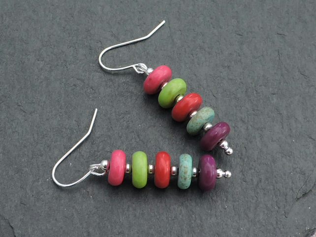 Drop Earrings Donut Beads with Silver Spacer Beads on Silver Plated Wires