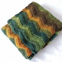 Crochet Wavy Scarf in Greens Gold and Brown