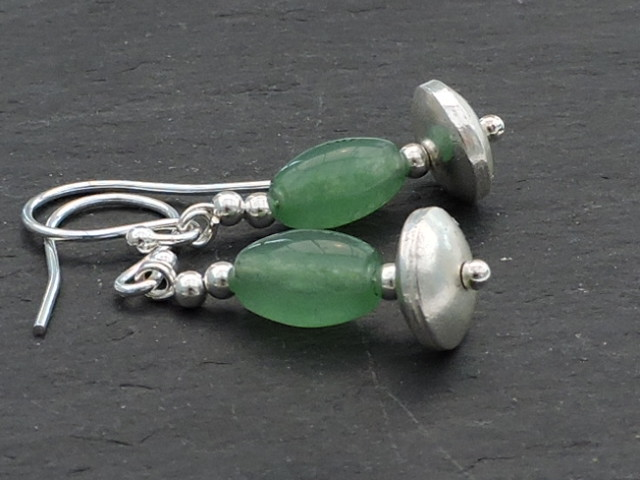 Earrings Jade Rice Beads with Silver Spacer Beads on Silver Wires