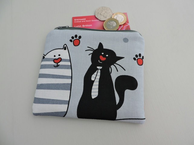Purse  Zipped Pouch - Comical Cats