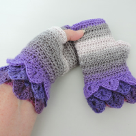 SALE Fingerless Mitts with Dragon Scale Cuffs Violet Lavender Grey and Pale Pink
