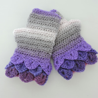 Fingerless Mitts with Dragon Scale Cuffs  Violet Lavender Grey and Pale Pink