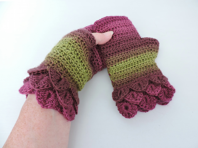 Fingerless Mittens with Dragon Scale Cuffs Magenta Plum and Olive