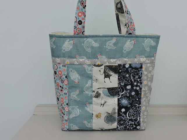 Patchwork Tote Bag  in Aqua Grey Salmon and Blue