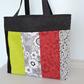 SALE  Tote Bag  Patchwork Black White Red and Lime Green