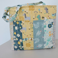 SALE now 10.00 Patchwork Tote Bag  Aqua Teal Yellow and Grey