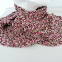 Knitted Scarf  Raspberry, Green and Pink