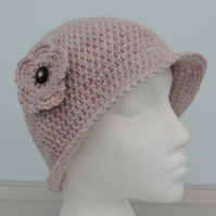 Crochet Cloche Hat in the Palest Pink