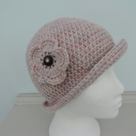 Cloche Hat Crocheted in the Palest of Pink