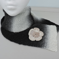 Scarf  Hand Knitted in Black White Grey