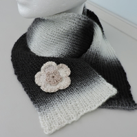 Knitted Scarf  Black White Grey