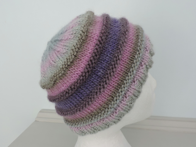 bb40ad418a7 Chunky Knit Beanie Hat for Adults Pink