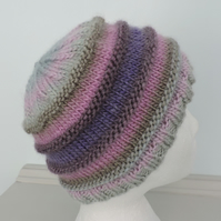 Chunky Knit Beanie Hat for Adults Pink, Lavender, Grey and Taupe