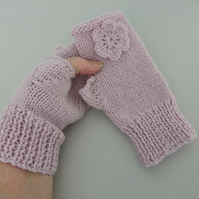 Knitted Fingerless Mitts with Alpaca Pale Pink