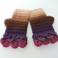Fingerless Mittens  Blackcurrant, Coffee, Brown and Ruby Dragon Scale Cuffs