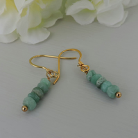 Emerald Rondelle Drop Earrings Gold Plated Sterling Silver