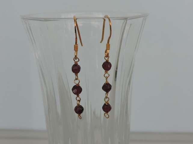 Garnet Drop Earrings Gold Plated Sterling Silver