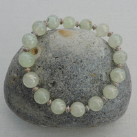 Pastel Green Prehnite stretch bracelet