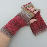Fingerless Mitts Raspberry Pink, Coffee and Taupe Alpaca and Acrylic