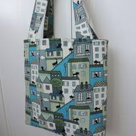 Tote Bag Shopping Bag Book Bag Craft Bag Cats and Houses