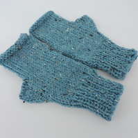 Knitted Fingerless Mitts Turquoise Tweed