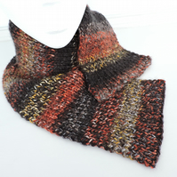 Knitted Scarf  Black Copper and Saffron