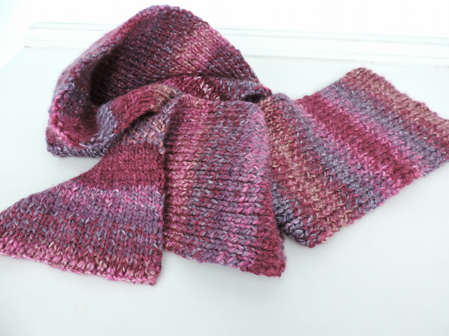 Knitted Scarf  Plum Grape Raspberry Pink