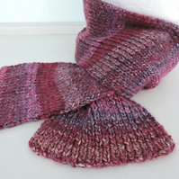 Chunky Knitted Scarf  Plum Grape Raspberry Pink