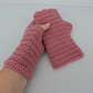 Rose Pink Crochet Fingerless Mittens with Wavy Edge Top