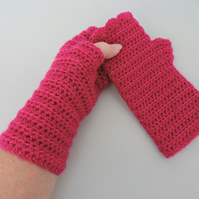 Crochet Fingerless Mittens with Wavy Edge Top Cerise