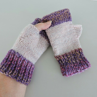 Knitted Fingerless Mitts Pink with Purple Tweed
