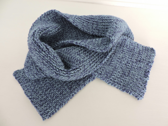 Two Blues Knitted Scarf Wool and Alpaca