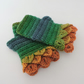 Fingerless Mitts with Dragon Scale Green Gold Petrel Orange Acrylic and Wool