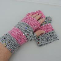 Crochet Fingerless Mitts Wrist Warmers Pink and Grey with Sequins