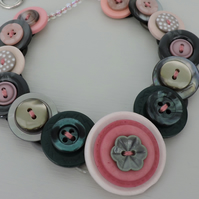 Button Necklace Grey and Pink