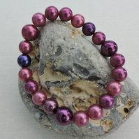 Shell Pearl Stretch Bracelet Burgundy, Claret, Blackberry