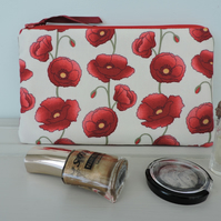 Make Up Bag, Zipped Pouch Poppies