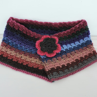 SALE now 8.00 Crochet Cowl, Neck Warmer  Multi